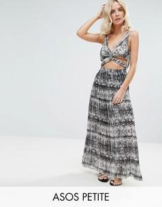 Пляжное платье макси с монохромным змеиным принтом и плиссированной юбкой ASOS PETITE - Мульти