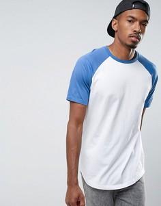 Длинная футболка с контрастными рукавами реглан и закругленным краем ASOS - Белый