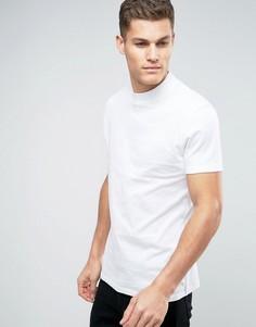 Свободная приталенная футболка с высоким воротом ASOS - Белый