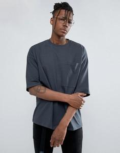 Свободная футболка из плотного трикотажа с большим карманом ASOS - Серый