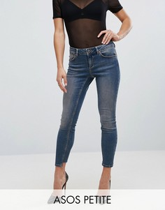 Выбеленные джинсы скинни с заниженной талией и асимметричным краем ASOS PETITE WHITBY - Синий
