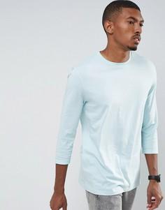 Длинная футболка с закатанными рукавами 3/4 ASOS - Синий