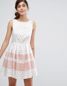 Приталенное платье мини в горошек с контрастными полосами Closet - Мульти