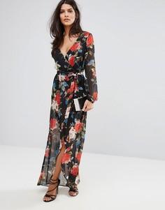 Платье макси с цветочным принтом и запахом Lipsy - Мульти