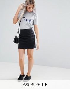 Черная джинсовая мини-юбка ASOS PETITE - Черный