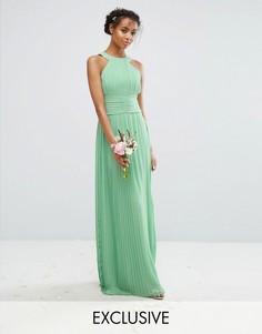 Плиссированное платье макси с высокой горловиной TFNC WEDDING - Зеленый