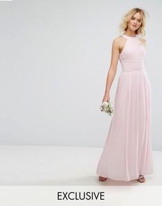 Плиссированное платье макси с высокой горловиной TFNC WEDDING - Розовый