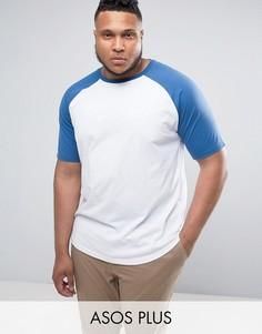 Длинная футболка с контрастными рукавами реглан и закругленным краем ASOS PLUS - Белый