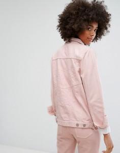 Классическая джинсовая куртка пастельного цвета с вышивкой в тон Waven - Розовый