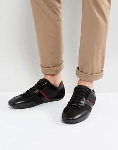 Черные кожаные кроссовки с сетчатой отделкой HUGO by Hugo Boss - Черный