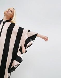 Oversize платье-рубашка в полоску с оборками ASOS WHITE - Мульти