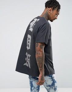 Свободная футболка без рукавов с выгоревшим принтом ASOS - Серый