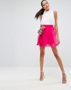 Мини-юбка для выпускного из органзы ASOS - Розовый