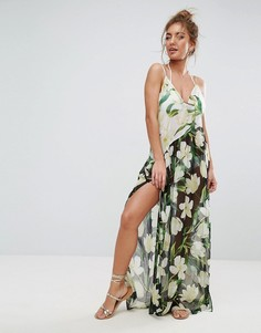 Пляжное платье макси с принтом и асимметричной вставкой ASOS - Мульти