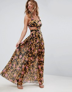 Плиссированное пляжное платье макси с вырезами и розами ASOS - Мульти