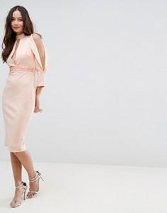 Платье миди с разрезами на рукавах ASOS - Розовый