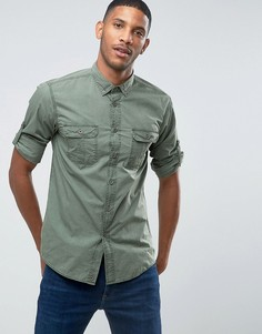Рубашка в стиле милитари с воротником на пуговицах United Colors Of Benetton - Серый