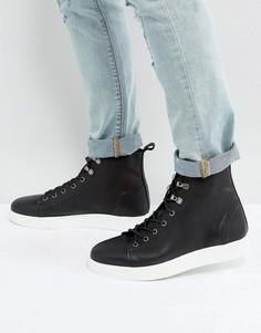 Черные кожаные ботинки на шнуровке с контрастной подошвой ASOS - Черный