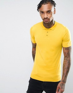 Вязаная футболка‑поло горчичного цвета ASOS - Желтый
