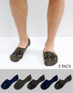 5 носков невидимок с леопардовым принтом ASOS - Мульти