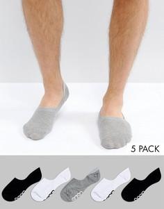 5 пар черно-белых низких носков ASOS - Мульти