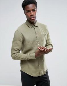 Льняная рубашка с карманом на груди Esprit - Зеленый