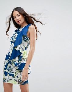 Платье мини с цветочным принтом и оборкой ASOS - Мульти