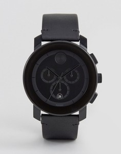 Черные часы с кожаным ремешком и хронографом Movado Bold 3600337 - Черный
