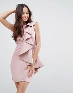 Платье мини с рюшами ASOS - Бежевый