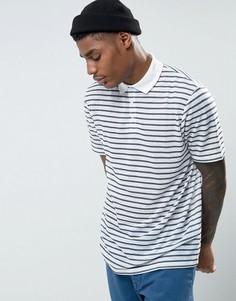 Свободная футболка-поло в полоску ASOS - Белый