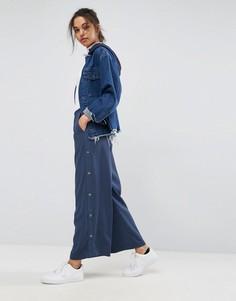 Широкие брюки с кнопками сбоку ASOS Tailored - Синий