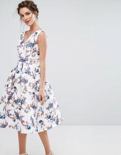 Платье миди с V-образным вырезом и юбкой-солнце Chi Chi London - Мульти