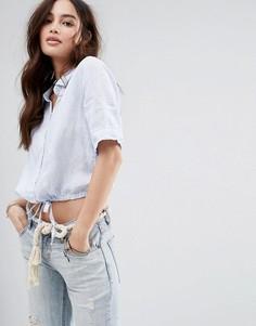 Короткая рубашка с затягивающимся шнурком Abercrombie & Fitch - Синий