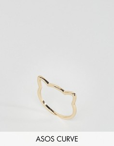 Кольцо в форме головы кошки ASOS CURVE - Золотой