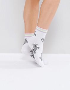 Носки в полоску с единорогами ASOS - Белый