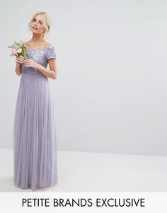 Платье макси с открытыми плечами, отделкой пайетками и юбкой из тюля Maya Petite - Фиолетовый