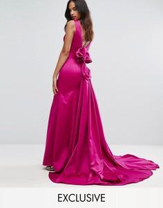 Атласное платье макси с годе и структурированным бантом Bariano - Розовый