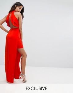 Платье макси с высоким воротом и открытой спиной Bariano - Красный