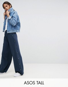 Широкие брюки с кнопками сбоку ASOS TALL - Темно-синий
