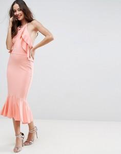 Платье миди с открытой спиной и оборками ASOS - Красный
