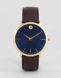 Часы с коричневым кожаным ремешком Movado 0607088 Ultra Slim - Коричневый