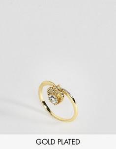 Кольцо с аквамарином - камнем для родившихся в марте Rock N Rose - Золотой