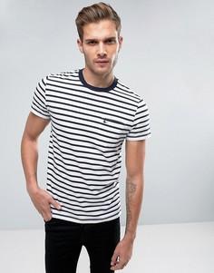 Белая узкая футболка в полоску с карманом и логотипом Jack Wills Camberwell - Белый
