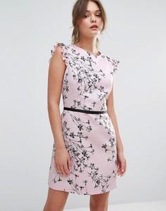 Платье с цветочным принтом и оборками на плечах Miss Selfridge - Мульти
