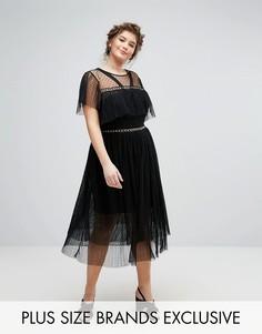 Платье из тюля с люверсами и рюшами Truly You - Черный