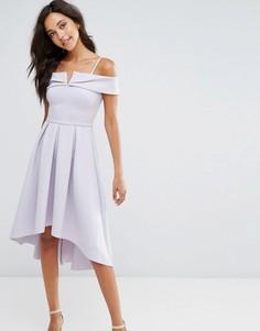 Платье с открытыми плечами и асимметричным краем Miss Selfridge - Фиолетовый
