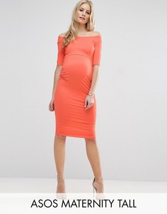 Платье бардо для беременных с укороченными рукавами ASOS Maternity TALL - Оранжевый