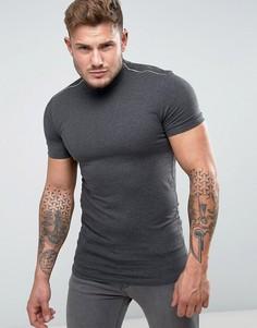 Темно-серая длинная обтягивающая футболка с молниями ASOS - Серый
