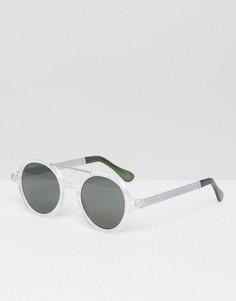 Круглые солнцезащитные очки с двойной переносицей Komono Vivien Metal Series - Прозрачный