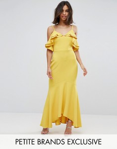 Платье макси с оборками на лифе John Zack Petite - Желтый